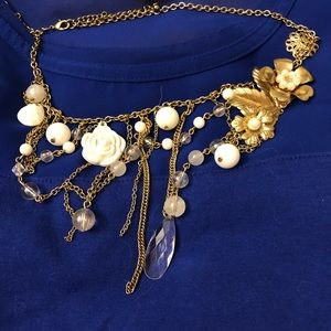 Gold bauble layered chain necklace